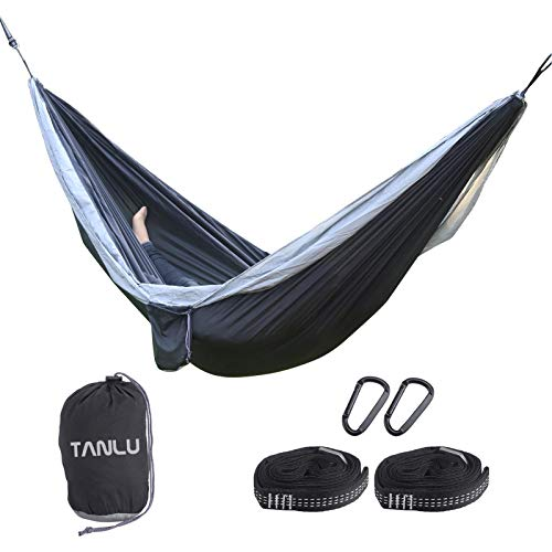 TANLU Portable Single Camping Hammock with Tree Straps,Lightweight Nylon Parachute Hammocks,Maximum Load of 660 LB,Camping Set for Backpacking, Camping, Travel, Beach, Garden