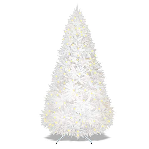 Strong Camel Pre-lit White Christmas Tree Artificial PVC Chrismas Tree LED Lights Decorate Pine Tree with Metal Stand White (7.5')