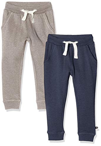 MINYMO Jungen 2er Pack Sweat Pants/Freizeithose Hose, Mehrfarbig (Ensign Blue/Grau 794), (Herstellergröße:104)