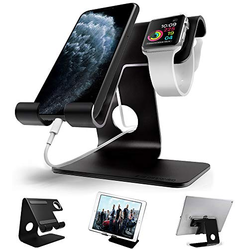 Desktop Cell Phone Stand, ZVEproof Aluminum Phone Dock Cradle Tablet Stand Holder, for Switch, iWatch, iPad, E-Reader, Mobile Phone, Android Smartphone, iPhone 11 Xs Max Xr X, Accessories Desk - Black