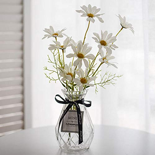Kunstbloem kunstbloem set, zijdebloem gedroogd bloemboeket, plastic bloemdecoratie, woondecoratie, woonkamer setting, eettafel, tv-meubel, salontafel, glazen vaas-Glas margrieten