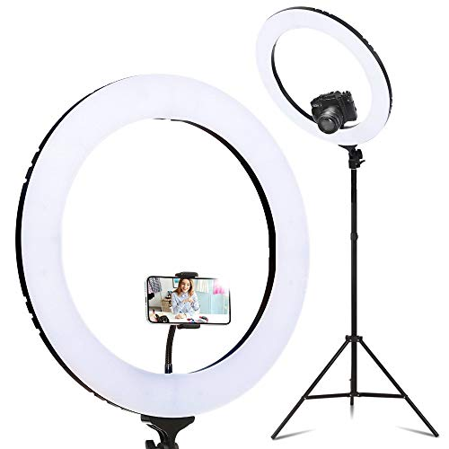 "19"" 5500K Camera Ring LED Light for Makeup Photography Video Selfie Embellir - Black"