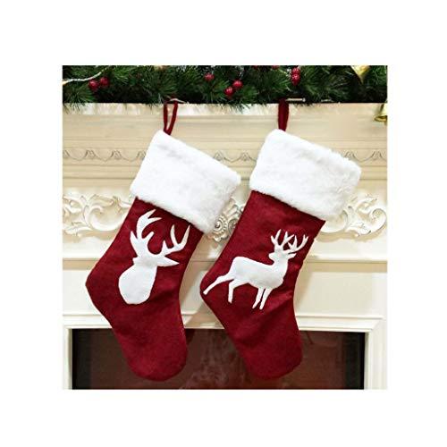 Nwn 2-teiliges Set Weihnachtstasche Weihnachtsbaum-Socken-Anhänger Schmuck Elch-Schneeflocke-Muster-Geschenk-Beutel Family Party-Weihnachtstasche