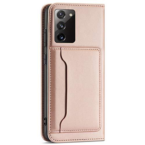 Riyeri Funda de piel con tapa para Samsung Galaxy S20 FE, ultrafina, con tarjetero, función atril, magnético, color dorado