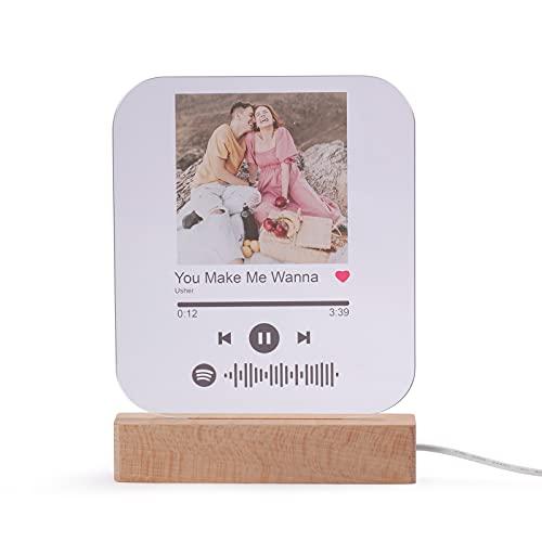 Luz de Noche Foto Spotify Personalizadas con Foto Grabado Lámpara de Noche Placa de Música Escaneable Spotify Vidrio Acrílico Canción Regalo para Novio Mujeres Día San Valentín (Negro)