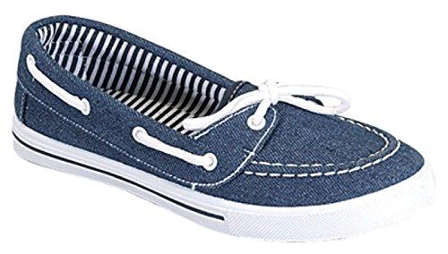 Womens Canvas Slip On Boat Shoe Loafer Sneaker, Denim Blue, 9