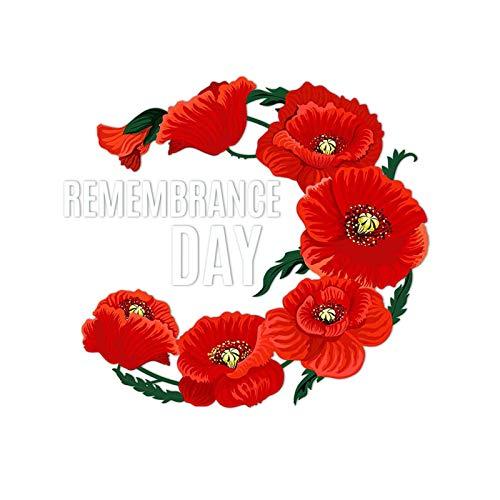 precauti Pegatina de amapola con diseño de flores de estilo británico para el día de la victoria europeo, con texto en inglés 'Lest We Forget Poppy'