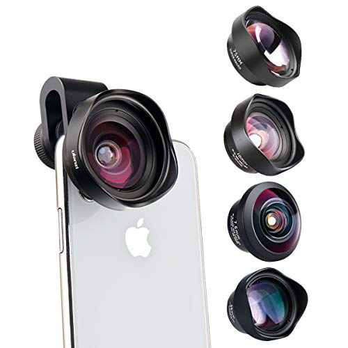 Ulanzi 4 in 1 Phone Camera Lens Kit - Clip-on Smartphone Lens 75mm Macro+238° Fish Eye+65mm Telephoto+100° Wide Angle for iPhone 11 XS 8 Samsung Galaxy Google OnePlus 7 Smartphone Tablets