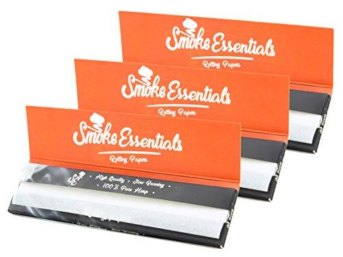 Hemp Rolling Papers King Size Slim 3 Pack Bundle | Smoke Essentials Natural Cigarette Smoking Paper | Slow Even Burning