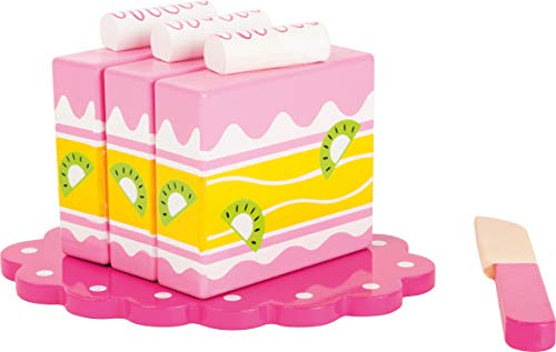 small foot 10885 houten taart voor de winkelwinkel of de kinderkeuken, 100% FSC-gecertificeerd, met klittenband voor doorknippen, incl. houten mes en klein bord, geschikt voor kinderen vanaf 3 jaar