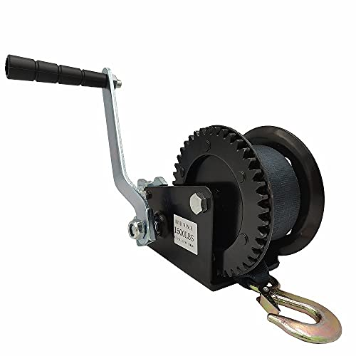 Capacity Heavy Duty Hand Winch Boat Winch , Hand Crank Winch with Black Strap Manual Winches , Two-Way Adjustable Boat Trailer Winch , Corrosion Resistant Towing Winches (1500lbs)