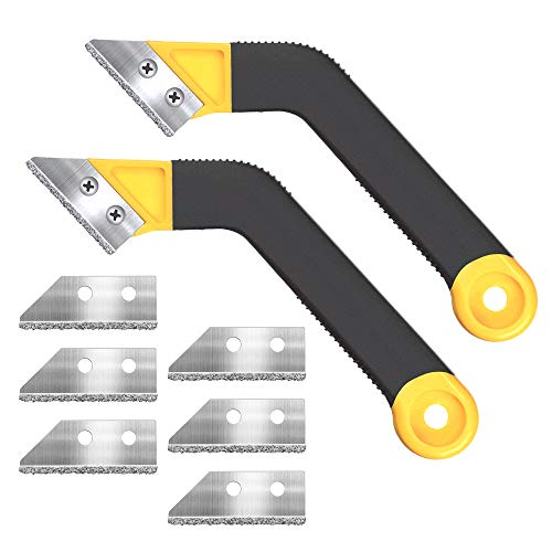 Muf 2 Pack Tile Grout Saw Grout Removal Tool, Angled-Design Grout Hand Saw with 8 Diamond Surface Blades (Include 6 PCS Extra Blades) for Tile Cleaning, Removing Paint and More