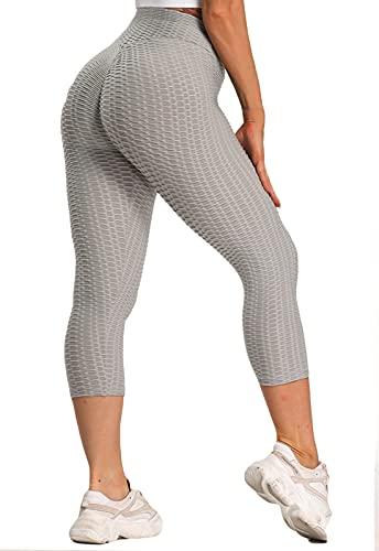 FITTOO Mallas 3/4 Leggings Capris Mujer Pantalones Yoga Alta Cintura Elásticos Super Suave #1 Gris M