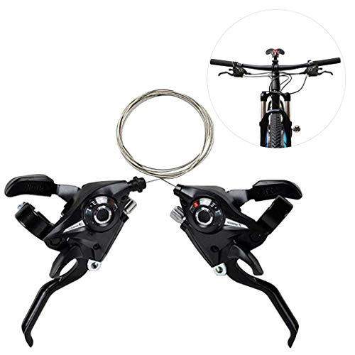 1 Pair Mountain Bike Brake Lever Bicycle Brake Shifter Set 3 Speed(Left Side) and 7/8 Speed(Right Side) Visible Optical Gear Display Indicator with Brake Cable