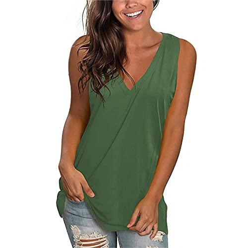 XOXSION Camiseta de lana para mujer con estampado floral suelto, blusa con hombros descubiertos, cuello en V D verde. M