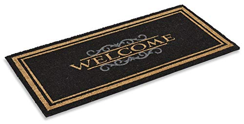 """Coco Coir Doormat Elegant Welcome Design 22"""" X 47"""" Inches, Rubber Backing, Low Clearance, Natural Coco Fiber Mat"""