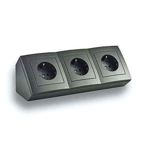 Presa ad angolo con montaggio a incasso, Schuko, USB, cavo di collegamento da 15 cm e morsetto per piano di lavoro da cucina, ufficio, officina, 250 V ~ 16 A, morsetto angolare SD: 3 x Schuko, nero