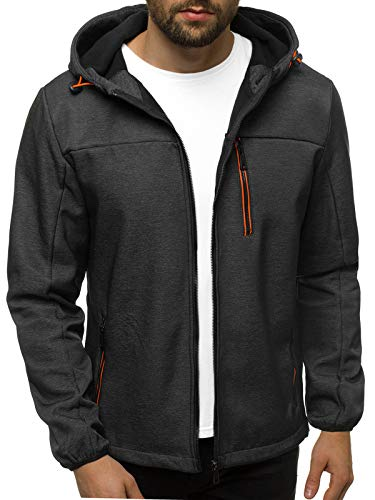 OZONEE Herren Softshell Jacke Regenjacke Wasserdicht Atmungsaktiv Softshelljacke Übergangsjacke Winterjacke Windbreaker Skijacke Winter Kapuze Herrenjacke Outdoor 777/4646K DUNKELGRAU XL