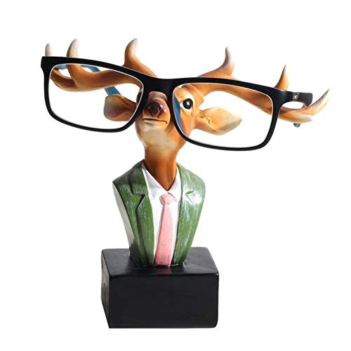 YNNG Eyeglass Retainers, Resin Reading Glasses Display Stand Handmade Crafts Antlers, Rabbit Sunglasses Holder Funny Decor Christmas Festival Gift,A