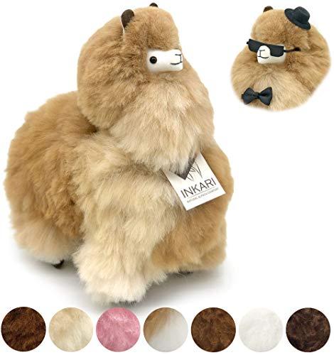 Alpaka Stofftier, super Flauschiges Kuscheltier aus echter Alpaka-Wolle, handgefertigte Unikate, fair und nachhaltig produziert, großes Plüschtier, hypoallergen (M (32cm), Sandstone)