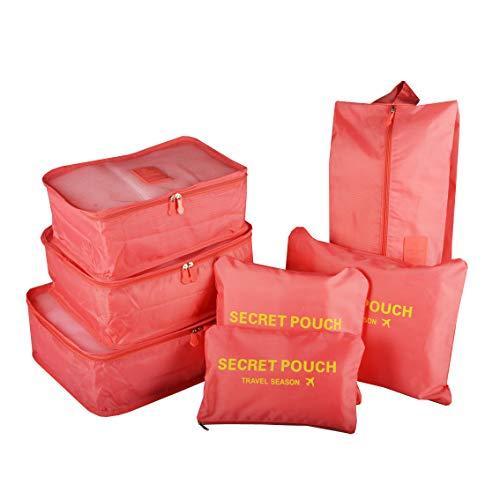 Organizador para Maleta/Equipaje, TOYESS 7 Set de Organizadores de Viajes, 3 Packing Cubes + 3 Compresion Bolsas + 1 Saco de Zapatos, Melon Rojo