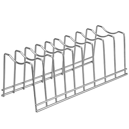 Pan/Pot Lids Holder Organizer, Euro Kitchen Organizer for Bakeware, Cutting Boards,Plates, Serving Trays, Cookie Sheet in Cabinet, and Lids Holder Rack (Chrome, 1)