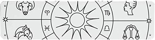 HNNT Astrologie VintageTin Sign,Sketchy Zodiacale Cirkel met Astrologie Tekenen Ram Waterman Vissen Leeuw Art 40x10 cm Kennisbord voor Indoor Outdoor Yard Straat Tekenen