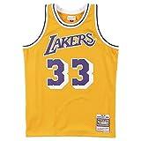 Mitchell & Ness Los Angeles Lakers 33 Kareem Abdul-Jabbar NBA Swingman Jersey Gold Hardwood Classics (M, dorado)