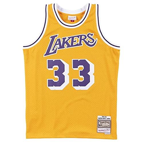 Mitchell & Ness Los Angeles Lakers 33 Kareem Abdul-Jabbar NBA Swingman Jersey Oro Hardwood Classics (M, Oro)
