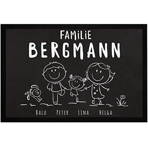 SpecialMe® Fußmatte Familie personalisiert mit Namen 1, 2, 3 & mehr Kinder Hund Katze Strichmännchen weiß 60x40cm