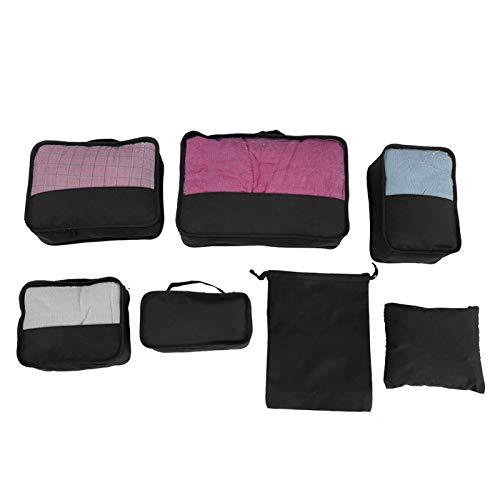Shoplice Organisateur de Valise - 7PCS Sacs de Rangement Cubes Set Compression Bagages Valise Organisateur(Noir)