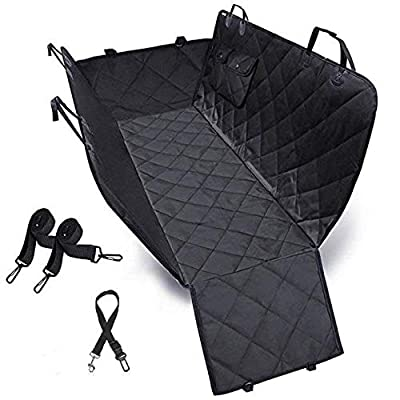 100% Waterproof Dog Car Seat Cover 600D Heavy Duty Dog Seat Cover with Side Flaps Hammock Convertible Black Pet Seat Cover for Pets, Fits Most Cars, Trucks and SUVs