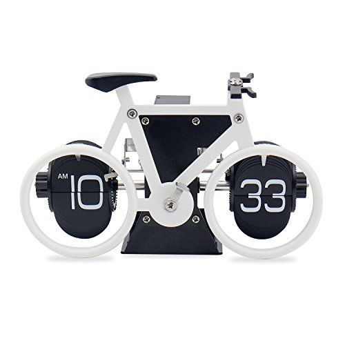 Sourcingbay Retro Flip Clock, Bike Shaped Flip Desk Clock for Living Room Decor, Home Office Decor, Office Decor for Women & Men - White