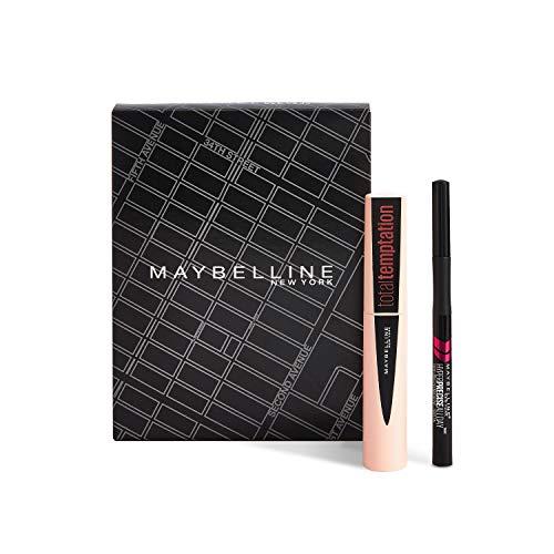 Maybelline New York Set de Maquillaje, Incluye Máscara de Pestañas Total Temptation y Eyeliner Hyper Precise Waterproof