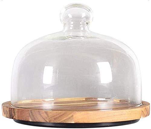 Soporte de madera para pasteles con cúpula de vidrio, bandeja de madera redonda para pasteles de 10 pulgadas con cubierta de vidrio sin plomo, tabla de queso de bambú redonda para sostener