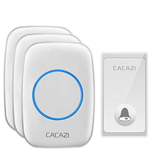Cacazi Draadloze bel met wandbel, 58 deurbel, 4 volumeregelaars en blauw licht, geen batterijen nodig, ideaal voor het aansluiten van de bel Wit.