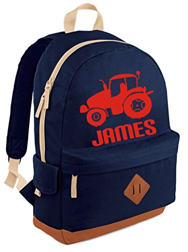PERSONALISED Tractor and Name NAVY Heritage Backpack with Red print