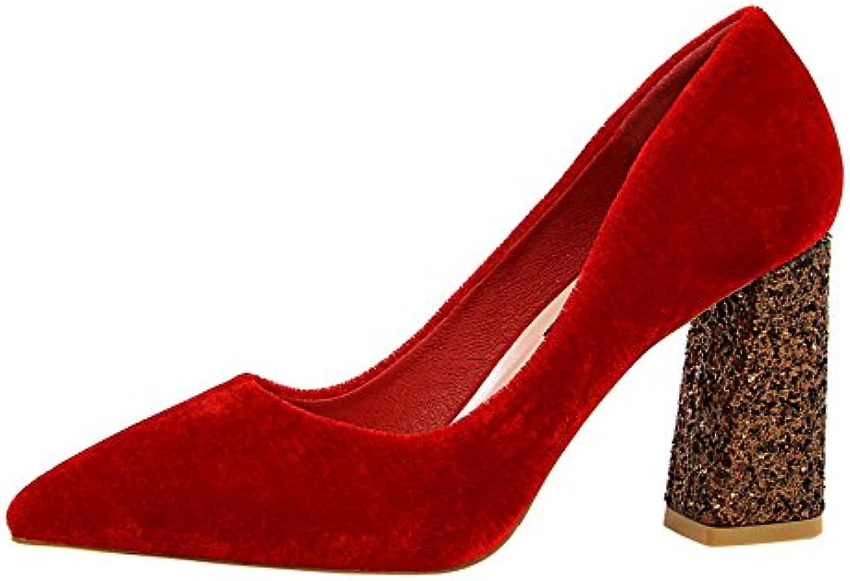 FLYRCX Samt Spitze High Heels Heels Heels Frauen dick mit einzelnen Schuhen sexy flachen Mund Pailletten Ferse Hochzeitsschuhe  caf376