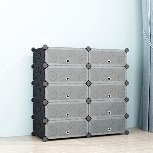 SIMPDIY Portable Shoe Rack Storage Organizer Shoe Box Storage System with Doors, Shoes,Accessories - Black (2x5 Cubes 93x37x90cm/37x15x36In)