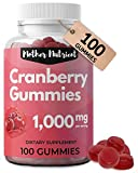 Cranberry Gummies for Women and Kids. 1000mg of Pure Cranberry. Antioxidant, UTI Urinary Tract Health. Vegan Gummy Vitamins, Chewable Cranberry Pills
