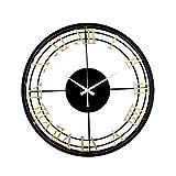 FOLA Reloj de Pared de Metal Sala de Estar de la Sala de la Sala de Estar silenciosa de la Mano 18 en Reloj de Pared Decorativo Retro Redondo fácil de Leer el Reloj de la casa