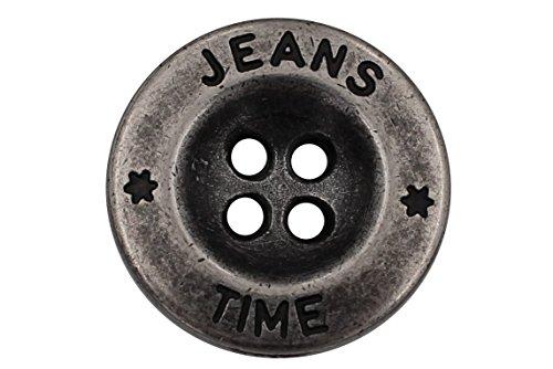 Silber Metall Knöpfe Basic Jeans Hosenknöpfe 4 Löcher Metallknöpfe Made in Germany 5 Stück (18mm)