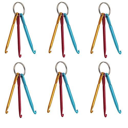 EOPER 6 juegos de agujas de tejer de aluminio para ganchillo, llavero, 3 – 5 mm