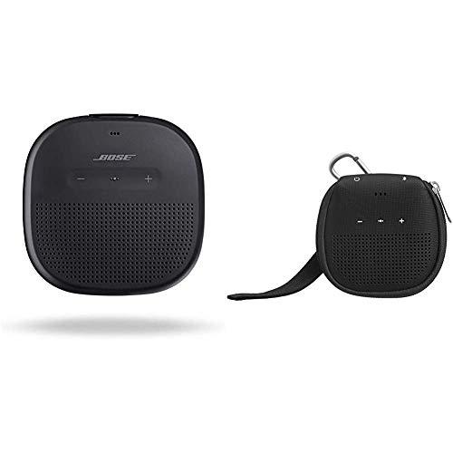 Bose SoundLink Diffusore Micro Bluetooth, Nero & Amazon Basics - Custodia per altoparlante Bluetooth Bose SoundLink Micro, con supporto, colore: nero
