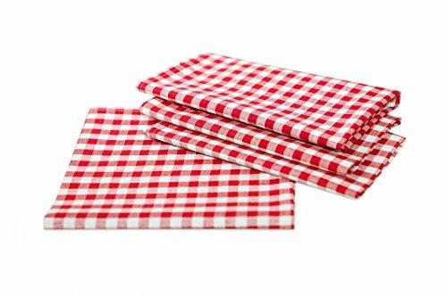 Maison de Campagne de table à carreaux en couleur et taille au choix 100% coton, Coton, Rouge et blanc à carreaux, 100x100 cm eckig