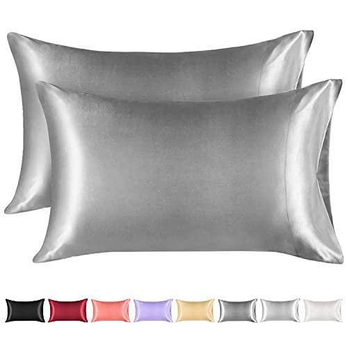 Lirex 2 Paquetes Funda Almohada Seda, King (50x 101cm) Size Microfibra de Color Sólido Suave Funda de Almohada de Seda, Sin Arrugas Resistente a la Decoloración Respirable - Gris Oscuro