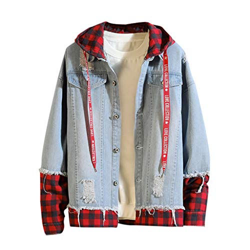 Allywit 2018 Lastest, Mens Denim Jacket Casual Vintage Distressed Ripped Holes Fashion Slim Fit Tops