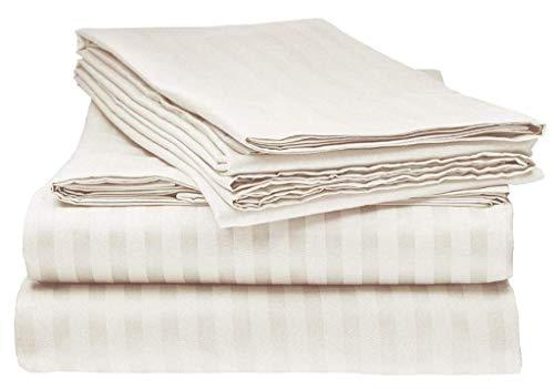 B$R Bedding's Twin, Schlafsofa Bettlaken-Set (91,4 x 182,9 cm), 10,2 cm, extra Tiefe Tasche, weiß gestreift, 4 Stück Full Sofa (Deep Pocket 8 inch) Elfenbeinfarbene Streifen