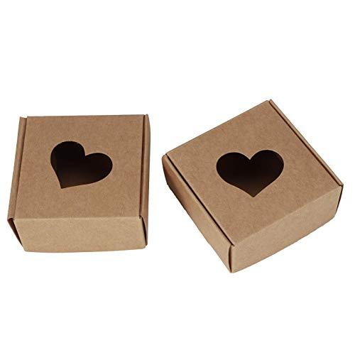 HERCHR Scatole di Cartone Scatoline Regalo Scatoloni Cartone da 50 Pezzi a Forma di Cuore Vuoto per Confezione di Gioielli di Cioccolato Caramelle per Feste di Compleanno