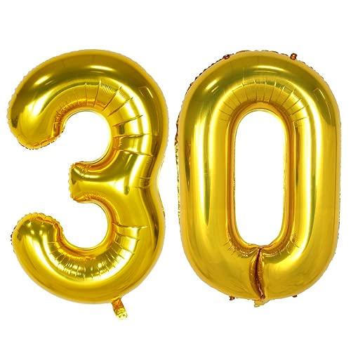 Meowoo 30 Ans Décoration Anniversaire, Fête Ballons 30 Ans Ballons Chiffre Ballons pour 30e Anniversaire de Mariage Fête d'anniversaire Décoration Hélium Ballons (30 Or)